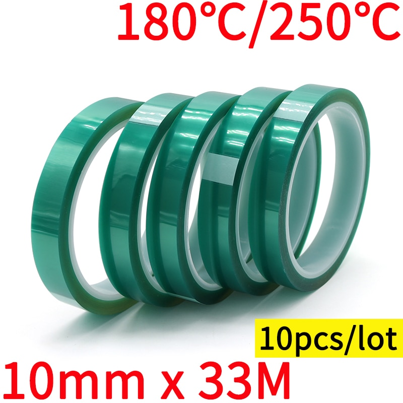 1pcs 33m heat resistant polyimide tape high temperature adhesive insulation tape for bga electronic repair pcb smt 10pcs 10mm x 33M Green PET Film Tape High Temperature Heat Resistant PCB Solder SMT Plating Spray Paint Insulation Protection