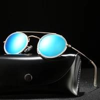 round polarized sunglasses men brand designer ladies polaroid sun glasses women metal frame black lens for women