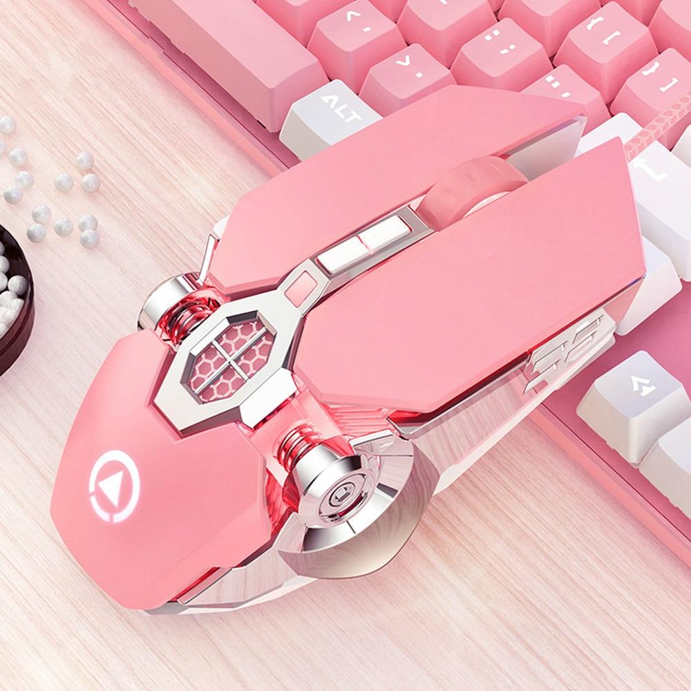 Fio jogos do mouse mouse ergonômico 7 teclas backlit para hp dell computador portátil computador portátil computador portátil gamer rosa menina mulher mouse