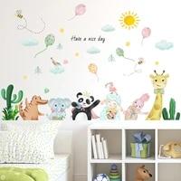 cartoon animal wall stickers for kids bedroom decor nursery decals boy girl room wall decoration diy self adhesive wallpaper