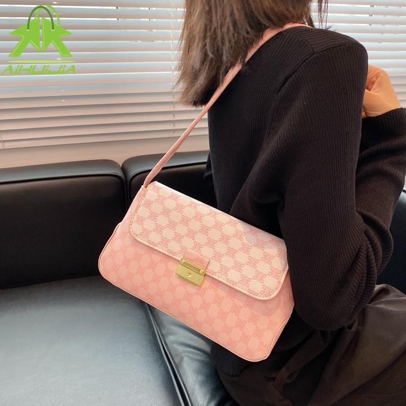 Underarm Bag Printing PU Leather Shoulder Bags For Women 2021 New Lock Handbags Travel Hand Bag Lady