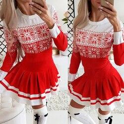 Feliz natal o-neck mini vestido plissado vestidos de moda 2020 inverno outono natal manga longa vestido de festa feminino d30