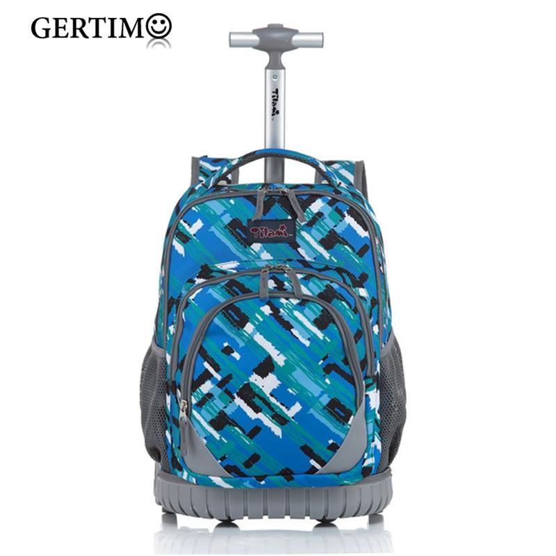 Boy's Girls Wheel Bag Child Multifunction Rolling Backpack Animal Owl Cat Printing Trolley Schoolbags with Wheels KidsTravel Bag