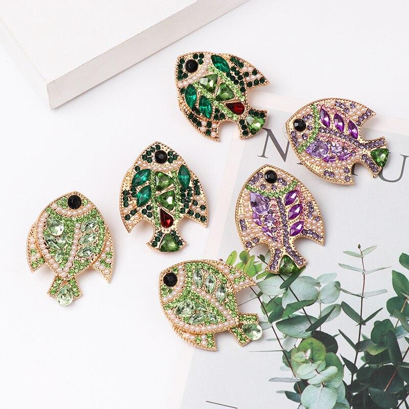Лидер продаж 2019, модные красочные серьги JURAN в виде рыбок с кристаллами для женщин, длинные серьги-капли, роскошные эффектные ювелирные изделия Стразы, оптовая продажа