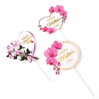happy mothers day cake toppers pink heart flower decorations ribbon bouquet flowers mothers day cake insert baking supplies