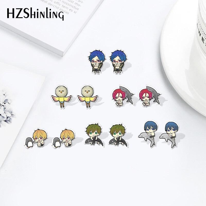 Desenhos animados anime grátis! Iwatobi nadar club calor shrinky dinks brincos do parafuso prisioneiro acrílico resina epóxi jóias