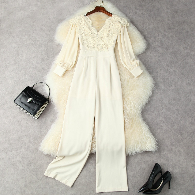 Jumpsuits Women Rompers 2021 Early Autumn Women's Water-Soluble Lace Stitching Chiffon Long-Sleeved High-Waist Wide-Leg Trousers