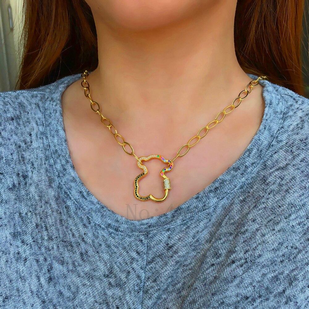 Moda feminina colares bonito urso design zircão e pérola pingente corrente colar de alta qualidade processo de fabricação