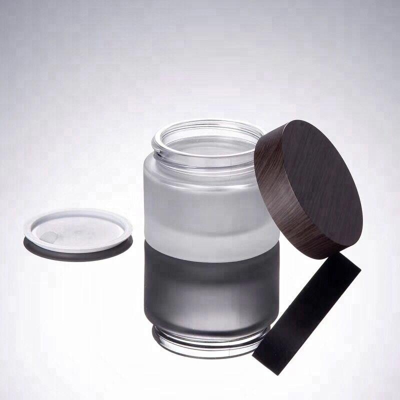 CBD Natural cuidado de la piel tapas de madera oscura frasco de crema de vidrio esmerilado 30g 50g, envases de bambú cosméticos tarro de crema de bambú con tapa de madera