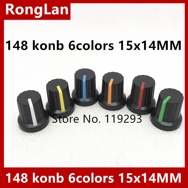 potentiometer plastic cap konb Audio amplifier 148 6 colors Red blue green orange yellow encoder band switch handle 15x14mm-100p