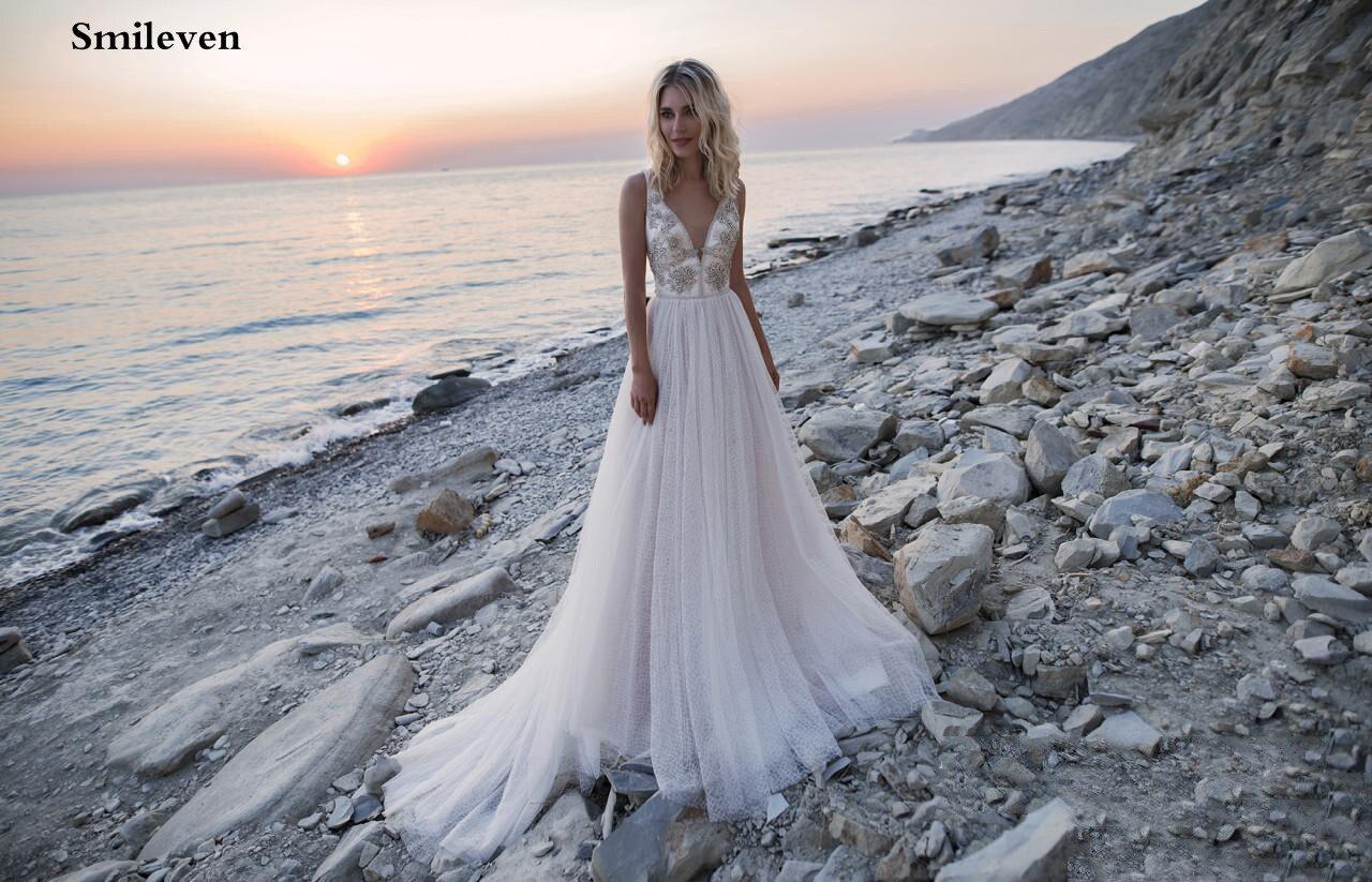 Smileven Lace Boho Wedding Dress Beach 2020 Beaded Crystal Bride Dresses vestido de casamento A Line Wedding Gowns