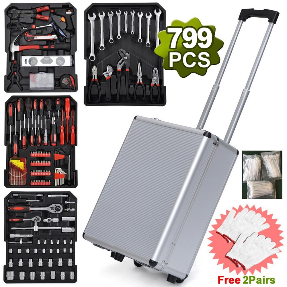 799pcs Multi-functional Hand Tools Set Aluminum Trolley Case Tool Kit Silver Wrenches Spanners Hex Socket For Car Repairing Kit