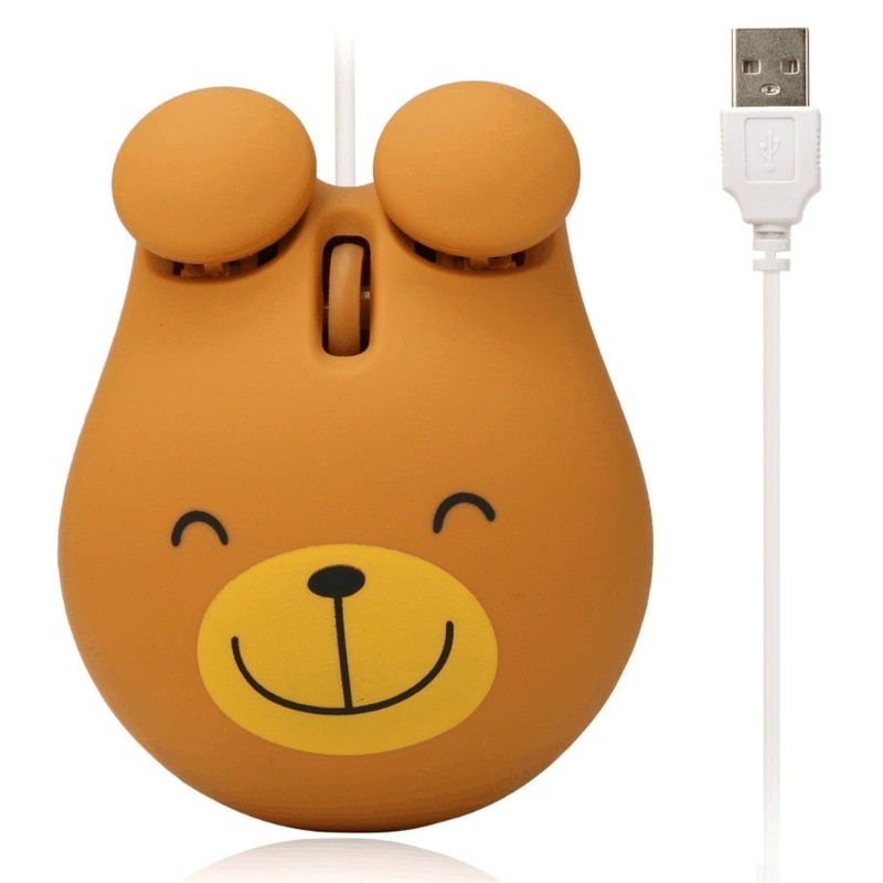 Wired Mechanical Gaming Mice Bear Shaped Corded Portable Optical Mouse Electronics Accessories for Notebook PC Laptop