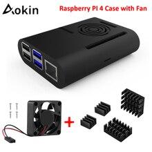 Aokin ABS Black /White /Transparent Case For Raspberry Pi 4 with Cooling Fan Aluminum Heatsink For Raspberry Pi 4 Model B Pi 4B