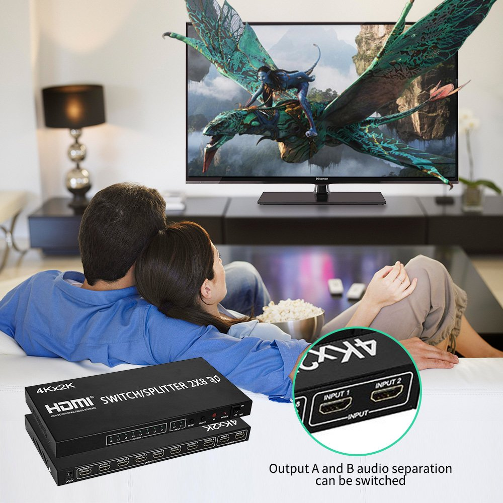 HDMI Splitter Full HD 4K Video HDMI Switcher 2x8 Split 2 in 8 Out Dual Display for DVD PS3 Xbox With Power enlarge