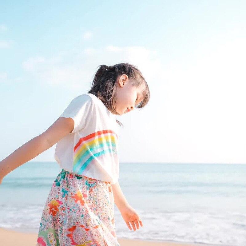 Camiseta de bebé niña 2020 novedad de verano estilo camisa de manga corta para niñas cuello redondo Arco Iris Camiseta de algodón blanco