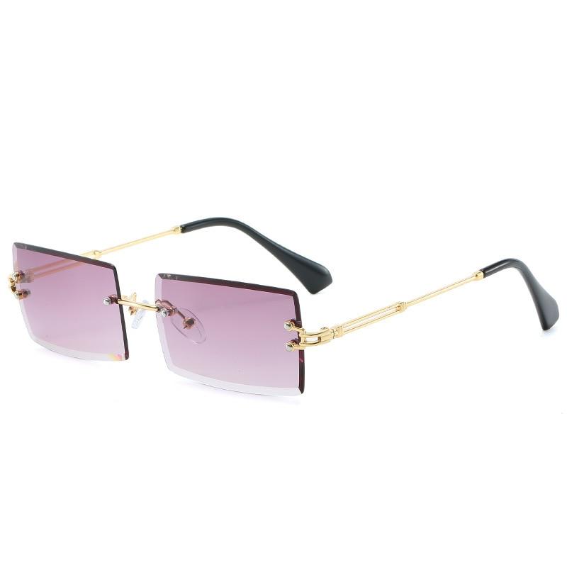 New Rimless Rectangle Sunglasses Women Men Shades Brand Designer Gradient Color UV400 Sun Glasses Re