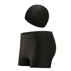 Men's Swim Trunks and Cap Sets Imitation Shark Skin Fabric  Beach Boyshort Hot Pring Quick Dry Breathable