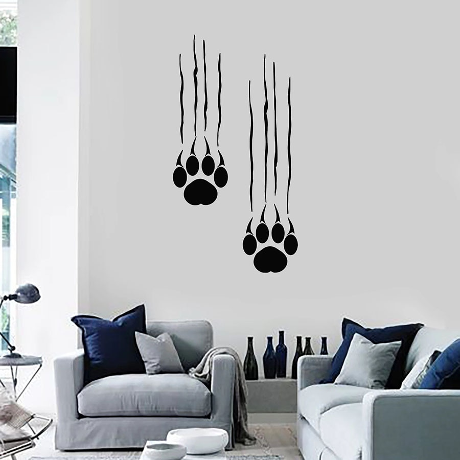 Calcomanía de pared oso huellas Paws depredador Animal garras vinilo ventana pegatina dormitorio hombre cueva decoración del hogar arte extraíble Mural S1374