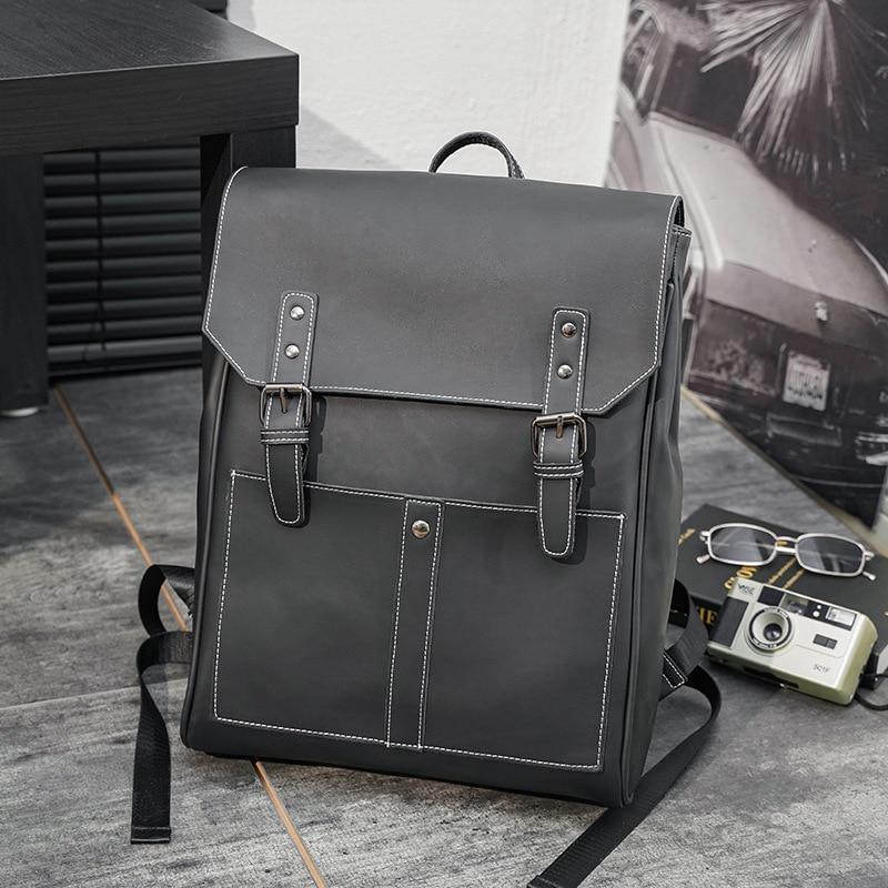 Новинка 2021, винтажный Модный мужской кожаный рюкзак, вместительный простой дорожный рюкзак для ноутбука в стиле пэчворк, рюкзаки, Прямая по...