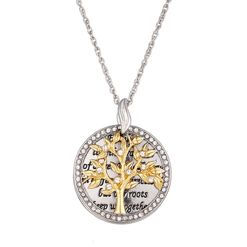 Collar de árbol de moda para Mujer, colgante redondo de circón transparente,...