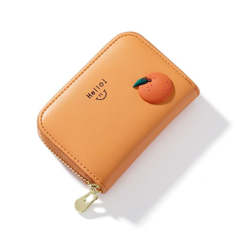 Cute Fruit Card Holders PU Leather For Women Standard Short Wallet Girls Zipper Coin Purse Key Walle