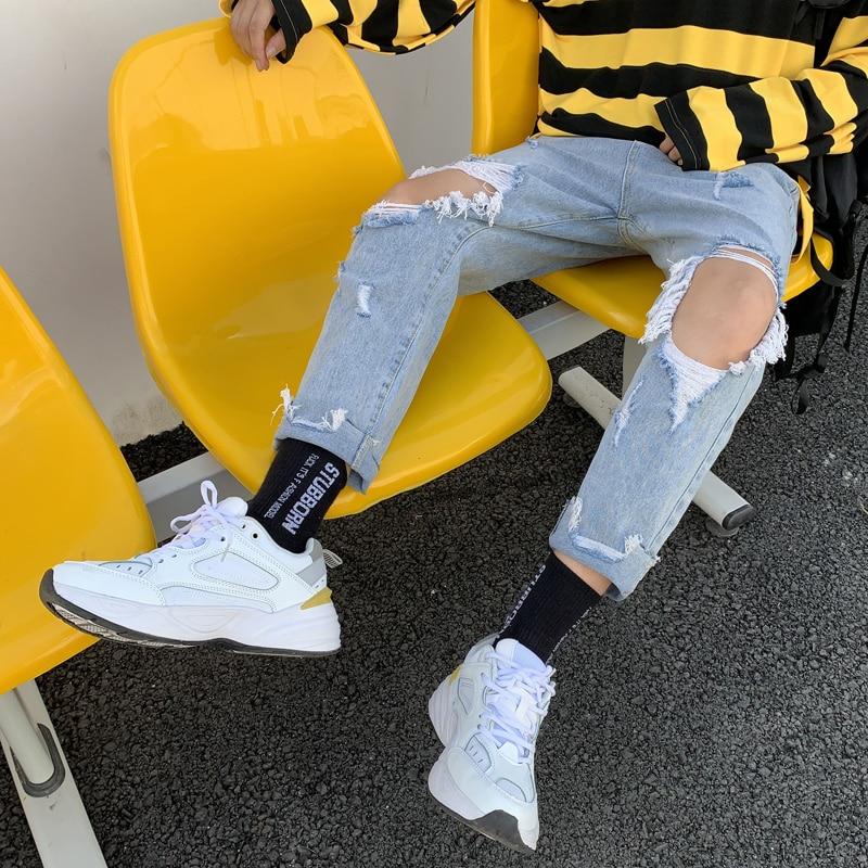 Men Streetwear Wild Hip Hop Denim Trousers Mens Summer Jeans Men's Slim Fashion Washed Solid Color Casual Hole Jean Pants