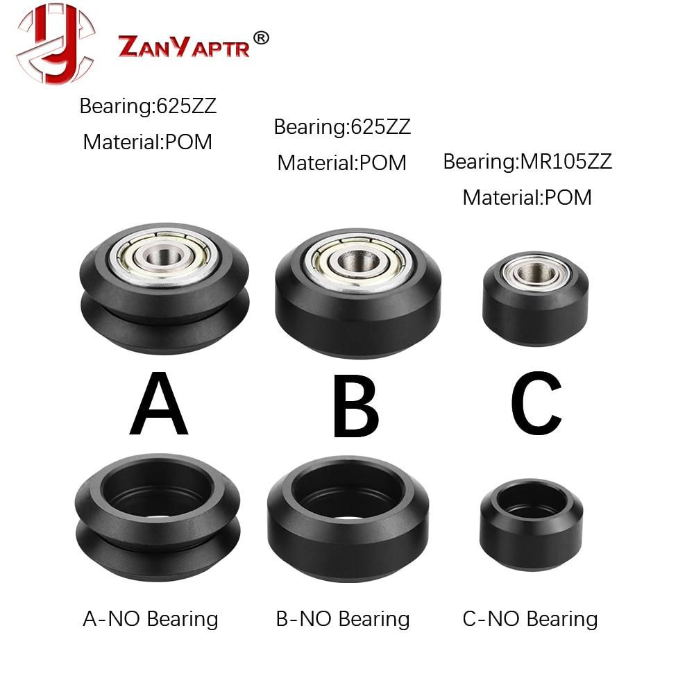 10 Uds CNC Openbuilds rueda de plástico POM con 625zz MR105zz roldana de pasivos rueda redonda Perlin rueda V Tipo de ranura en V