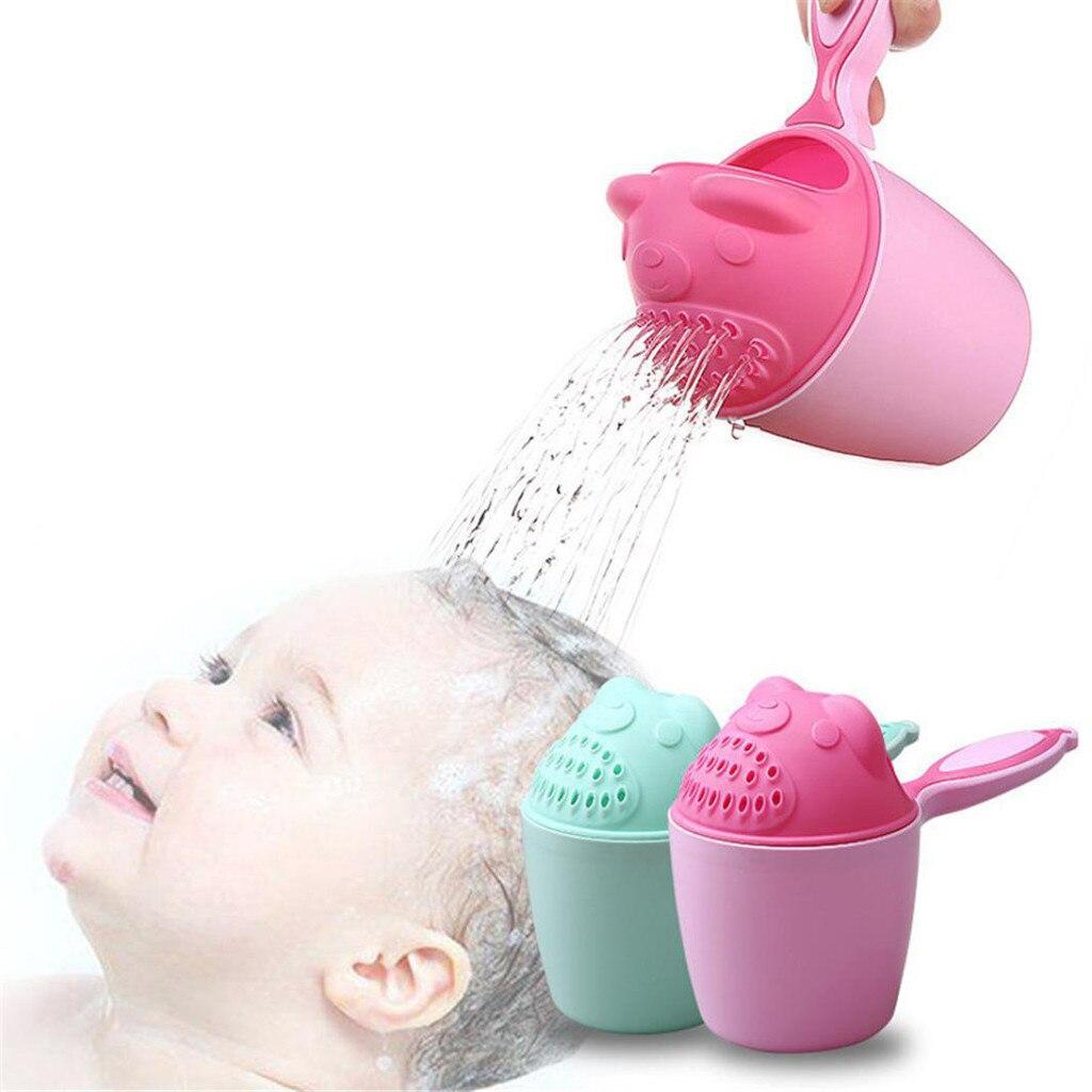 Bebé recién nacido baño cascada enjuagadora niños champú enjuague taza de ducha de baño de lavado termómetro de cabeza almofadas