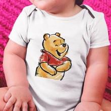 Disney Winnie the Pooh Print Baby Romper Summer Infant Clothing Newborn Baby Boy Girl Short Clothes