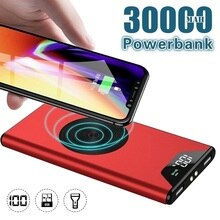 Portable 30000mAh Wireless Charger High Capacity Power Bank Ultra Thin Fast Charging LED Light Digit