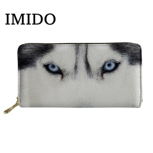 Wallet Leather Women Cool Animal Wolf 3D Printed Waterproof Coin Purses for Girls Travel Storage Money Bags Cash Bag 2019