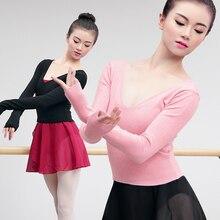 Herfst Winter V-hals Hoge Taille Dance Ballet Trui Meisjes Vrouwen Lange Mouwen Dans Tops Volwassen Dames Ballet Kostuums
