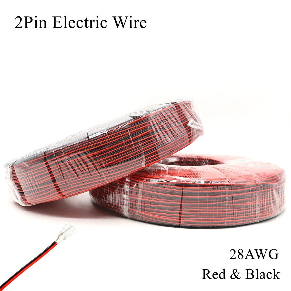 Cable eléctrico de cobre estañado, 28AWG, 2 pines, rojo y negro, Cable...