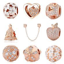 Authentique 925 argent Sterling perles breloque cristal breloque or Rose clair CZ Fit Original Pandora Bracelet femmes bijoux à bricoler soi-même 2019