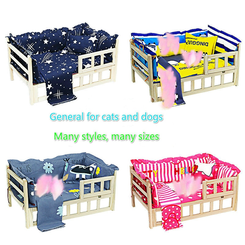 Pet Kennel Dog Bed,Assembled Solid Wood Pet Bed,Large Medium and Small Dogs Solid Wood Cat Teddy Golden Retriever Chenery Bed