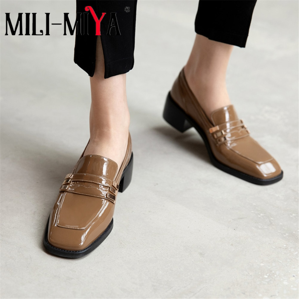 MILI-MIYA أزياء النساء جلد البقر مضخات بلون سميكة الكعوب ساحة تو الانزلاق على عارضة أحذية للسيدات حجم 34-40 اليدوية