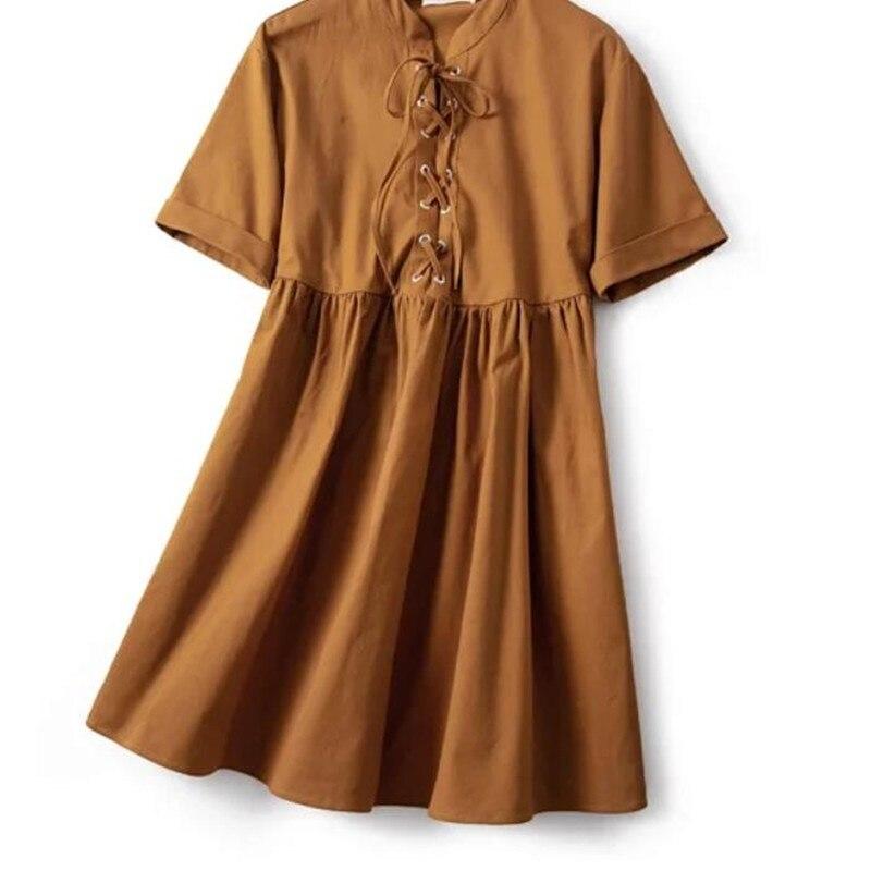 Vestido suelto de manga corta para mujer, novedad de Primavera Verano 2020, lazo frontal, estilo vaquero, Mini vestidos dulces e informales