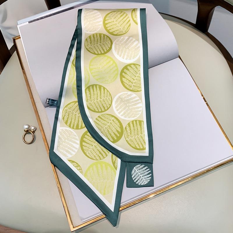 Scarf For Women Four Seasons New Fashion Print Cross Small Silk Scarf Women's Hair Lead Towel Dual-use Small Scarf Tied Bag297