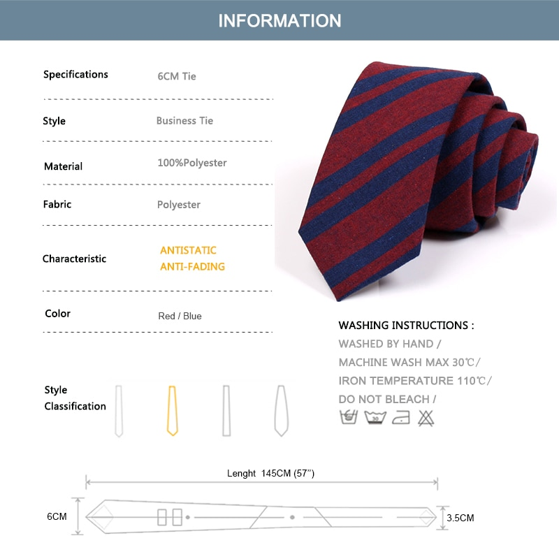 2020 New Men 6CM Red Blue Striped Tie Fashion Formal Neck Tie For Men Business Suit Work Necktie Male Slim Ties With Gift Box