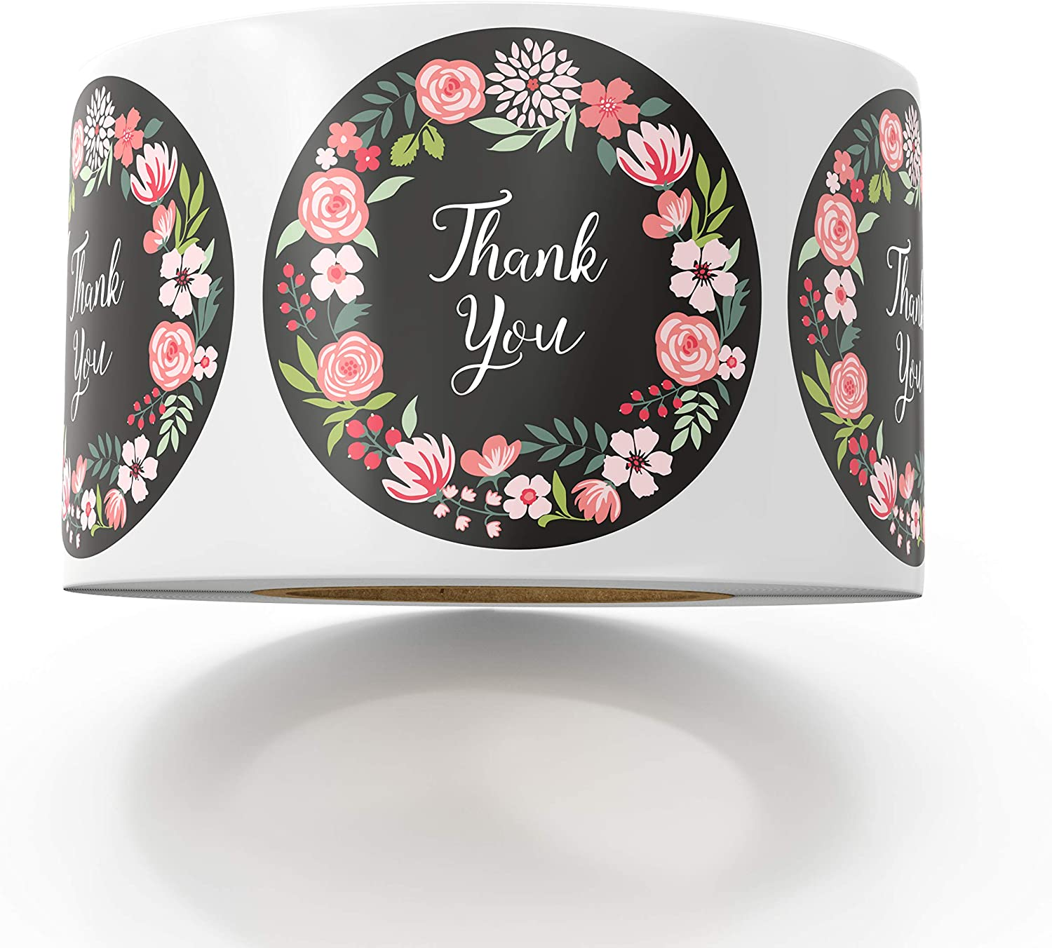 Thank You Stickers 1 inch 500pcs Floral Scrapbook Stickers for Company Giveaway Birthday Party Favors Labels Mailing Supplies