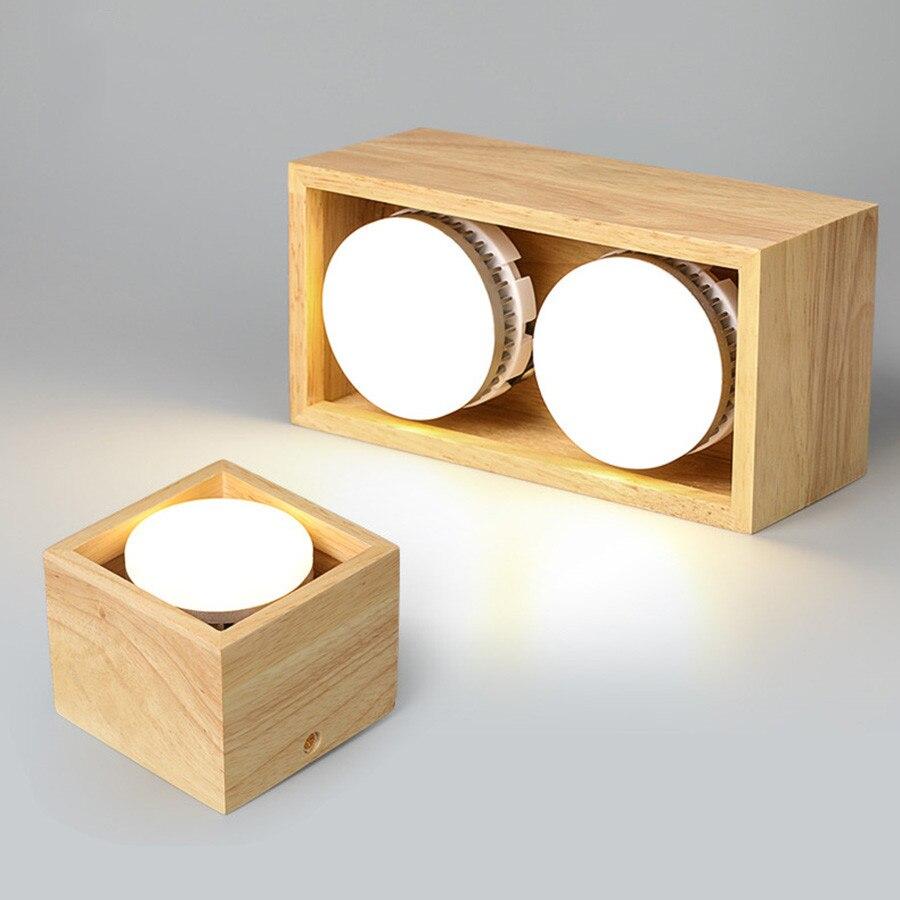 9 واط 18 واط الحديثة النازل LED نظام تعليق في السقف ضوء واحد/مزدوج رئيس مربع الخشب اللون الأضواء لغرفة المعيشة الطعام
