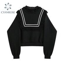 Elegant Sweatshirts Women Korean Sweet Black Spliced Square Lace Ruffle Pullover Sweatwear Tops 2021