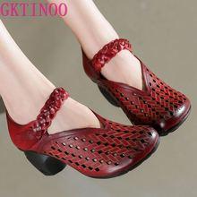 GKTINOO été femmes pompes rétro dame 6CM talons hauts évider pompes à la main femmes chaussures en cuir véritable