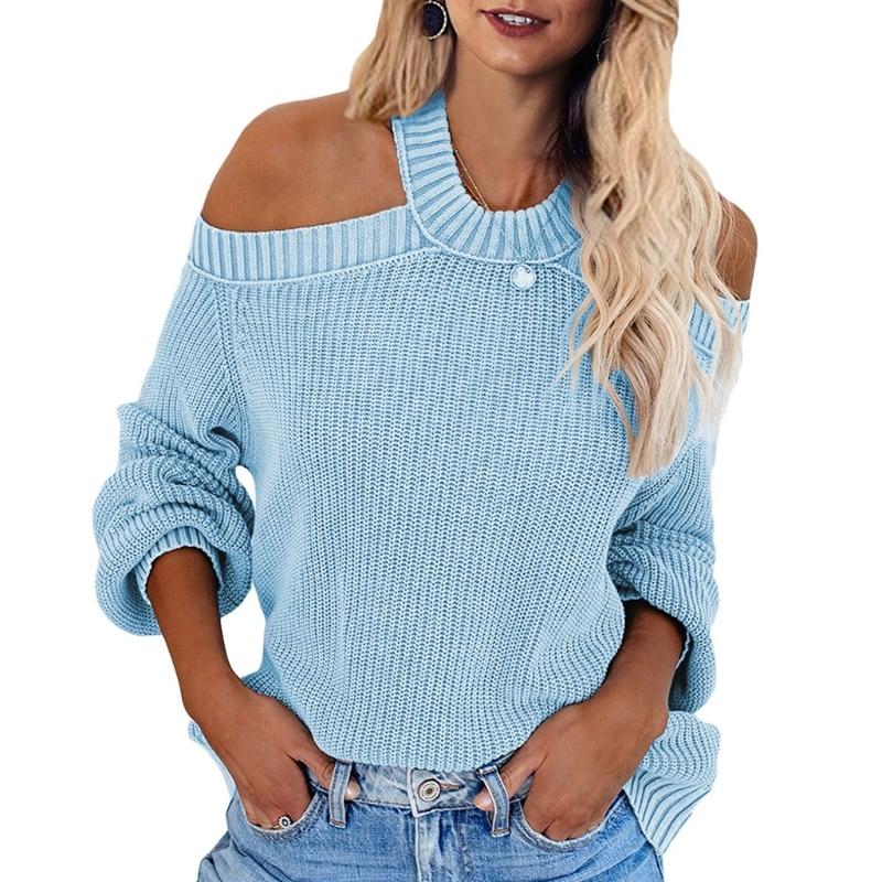 Women Sexy Cold Shoulder Loose Sweater Halter Neck Backless Knitted Jumper Tops enlarge