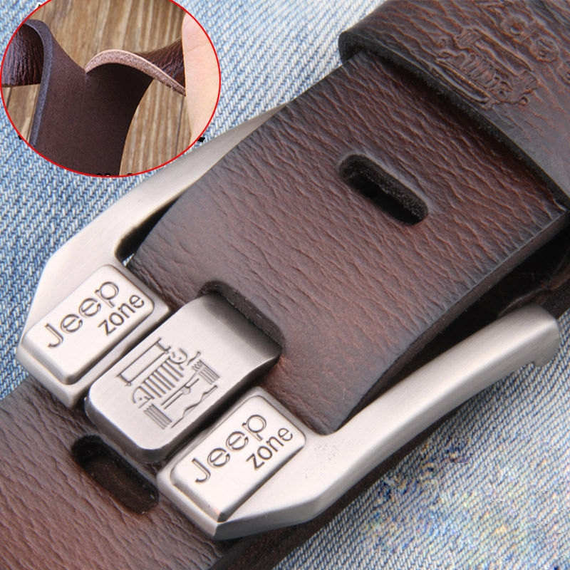 Men Genuine Leather Belt Luxury Brand Alloy Metal Pin Buckle Designer Belts Waist Strap Male for Jeans Design Cintos Masculinos