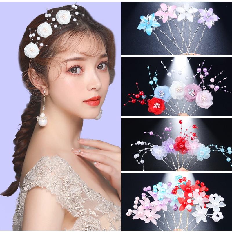 Shiny 10 stücke Braut Frauen Mädchen Haar Schmuck Haar Pins Clips Blume Design Imitation perlen Perlen Stirnband Tiara U Form ornamente