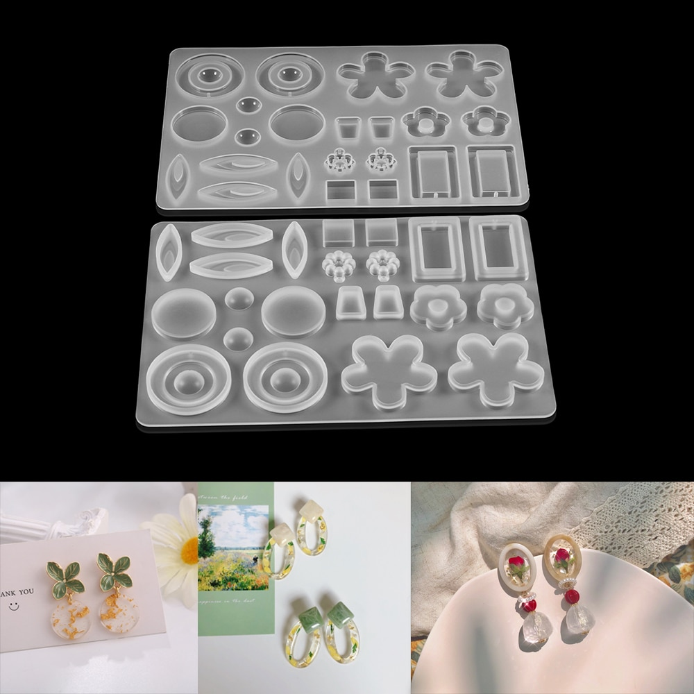 1pcs Crystal Epoxy Resin Mold Earring Flower Pendant Mold Casting Silicone Molds for Earrings Jewelry Making Tools Accessories demixing pendant resin mold silicone mold casting molds epoxy uv jewelry making moulds jewelry making jewelry tools