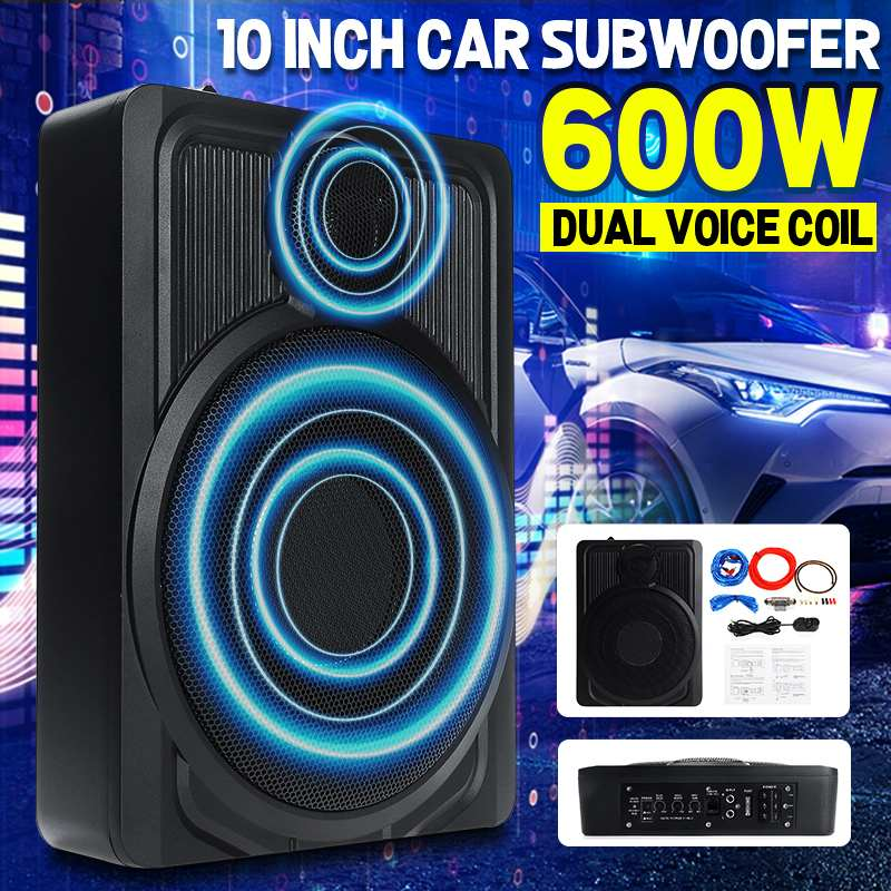 10 Inch 600W Active Subwoofer Car Audio Speakers Bass Sound Under Seat Music Center Ultra Thin Car Subwoofer In the Car 10 600w active car subwoofer audio speakers amplifier ultra thin subwoofer bass amplifier auto surround sound car audio system