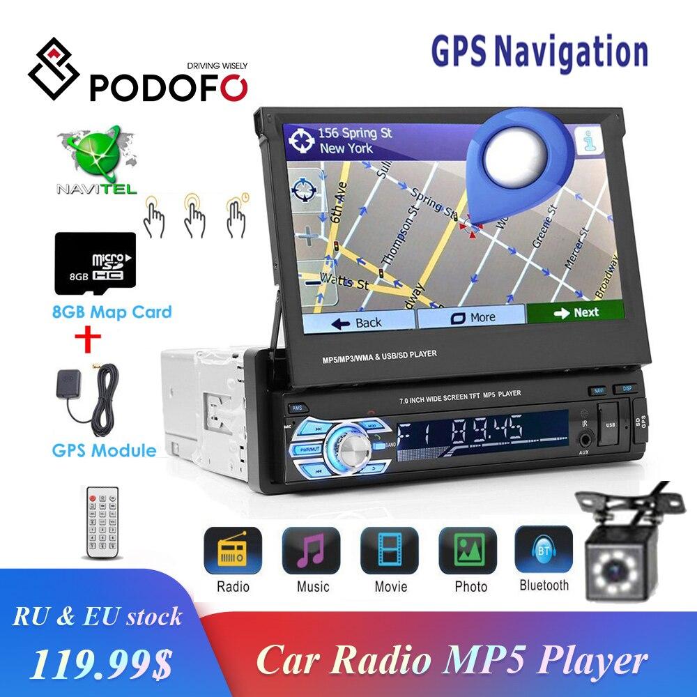 Podofo 1Din راديو ستيريو بالسيارة لتحديد المواقع نافي 7
